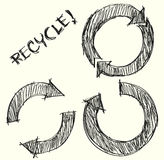 Hand drawn recycle circle arrow Royalty Free Stock Photo