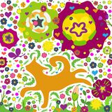 hand-drawn red cat in flowers