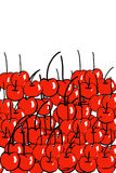 Hand drawn red cherries. Stacked on top of each other, with plenty of copyspace Stock Images