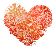 Hand-drawn red doodles heart  on white background. Stock Images