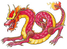 Hand drawn Red Dragon. Original artwork inspired with traditional Chinese and Japanese dragon arts stock illustration