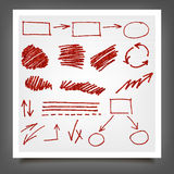 Hand drawn red gold design elements. Royalty Free Stock Photography