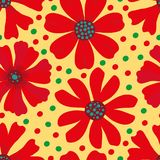 Hand drawn red, green and blue blooming flowers on yellow green polka dot background. Seamless vector pattern. Great for royalty free illustration