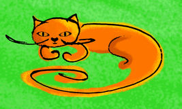 A hand-drawn red-haired cat. Royalty Free Stock Photo