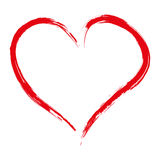 Hand drawn red heart isolated on white background,  Stock Photography