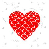 Hand drawn red heart with pattern. Design elements for Valentine. `s day or World Heart Day Stock Photography