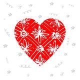 Hand drawn red heart with pattern and flowers. Design elements f. Or Valentine`s day or World Heart Day Stock Image