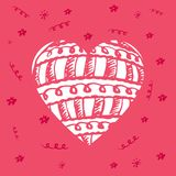 Hand drawn red heart with pattern. Greeting card for Valentine`s. Day or World Heart Day Royalty Free Stock Photos