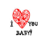 Hand drawn red heart. Vector ornate hand drawn red heart with inscription Stock Photo