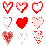Hand Drawn Red Hearts in Grunge Style. Isolated on White Background with Different Textures. Vector Illustration Royalty Free Stock Images