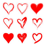 Hand Drawn Red Hearts Grunge Style Set. Hand Drawn Red Hearts in Grunge Style Isolated on White Background. Different Shapes & Textures. Vector Illustration Royalty Free Stock Image