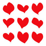 Hand drawn red hearts Stock Image