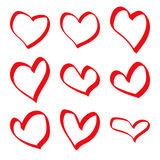 Hand drawn red hearts Royalty Free Stock Images