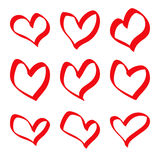 Hand drawn red hearts Royalty Free Stock Photo