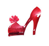 Hand drawn red icon shoes illustration. Royalty Free Stock Images