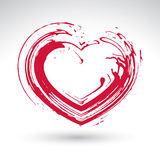 Hand drawn red love heart icon, brush drawing loving heart sign, Royalty Free Stock Photos