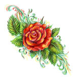 Hand drawn red rose on white background. Red rose drawing with Colored Pencils stock images