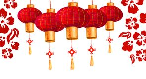 Hand drawn red round Chinese paper lanterns with cherry flowers. And leaves Royalty Free Stock Images