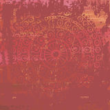 Hand drawn  red shabby vintage  background  in indian style Royalty Free Stock Image