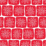 Hand drawn red squares with white flowers on a white background. Seamless vector pattern. Perfect for backgrounds, fabric, vector illustration