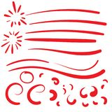 Hand Drawn Red squiggle swoosh text font tail for baseball tshir. T design w calligraphy swirl Royalty Free Stock Image
