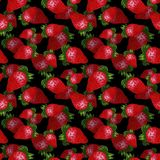 Hand drawn red strawberry seamless pattern on black background. Design for wallpaper or textile stock illustration