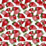 Hand drawn red strawberry seamless pattern on white background. Design for wallpaper or textile royalty free illustration