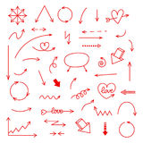 Hand drawn red vector arrows set. Royalty Free Stock Photography