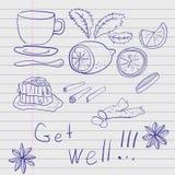 Hand-drawn reeks punten, geneesmiddelen, traditionele geneeskunde Stock Fotografie