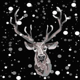 Hand drawn reindeer on the black background with snowflakes falling down around him. Vector illustration of reindeer with snowflakes vector illustration