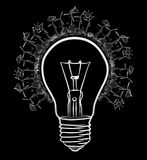 Hand-drawn renewable energy lightbulb sketch. On black background Royalty Free Stock Images