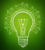 Hand-drawn renewable energy lightbulb sketch Stock Photography