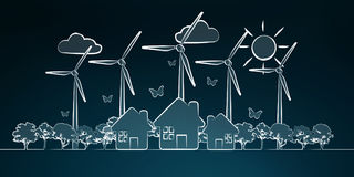 Hand-drawn renewable energy sketch. On blue background Stock Photography