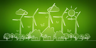 Hand-drawn renewable energy sketch Royalty Free Stock Photo