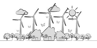 Hand-drawn renewable energy sketch. On white background Stock Images
