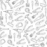 Hand drawn repair tools seamless pattern. Stock Photography