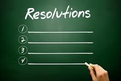 Hand drawn RESOLUTIONS blank list concept on blackboard. Hand drawn RESOLUTIONS blank list, concept on blackboard Royalty Free Stock Photo