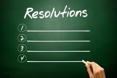 Hand drawn RESOLUTIONS blank list concept on blackboard Royalty Free Stock Photo