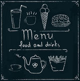 Hand drawn restaurant menu design on blackboard. Restaurant menu design elements with chalk drawn food and drink icons on blackboard Stock Images