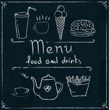 Hand drawn restaurant menu design on blackboard. Restaurant menu design elements with chalk drawn food and drink icons on blackboard royalty free illustration