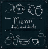 Hand drawn restaurant menu design on blackboard. Restaurant menu design elements with chalk drawn food and drink icons on blackboard Stock Image