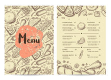 Hand drawn restaurant menu design. Cafe price catalog, junk food card with snack linear sketches. Snack vector brochure with hand drawn pizza, french fries stock illustration