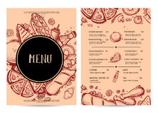 Hand drawn restaurant menu design. Cafe price catalog, junk food card with snack linear sketches. Snack vector promotion with hand drawn pizza, french fries stock illustration