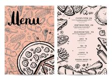 Hand drawn restaurant menu design. Cafe price catalog, junk food card with snack linear sketches. Snackpromotion with hand drawn pizza, french fries, hot dog Stock Image