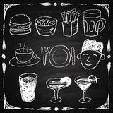 Hand drawn restaurant menu elements. Royalty Free Stock Photos