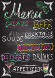 Hand drawn restaurant menu elements. Stock Photography