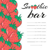 Hand drawn restaurant menu elements. Smoothie bar with strawberry. Healthy vegetarian drink. Vector Royalty Free Stock Images