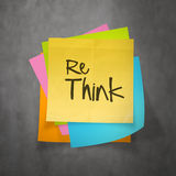 Hand drawn  RETHINK word paper sticky note Royalty Free Stock Images