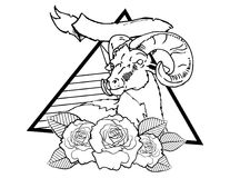 Deer vintage neo traditional tattoo black and white sketch. tattoo and t-shirt designs. Hand drawn retro animal tattoo sketch with roses in vintage style. ornate stock illustration