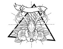 Deer bones vintage neo traditional tattoo black and white sketch. tattoo and t-shirt designs. Hand drawn retro animal tattoo sketch with roses in vintage style stock illustration